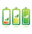 eco battery charge level icons set vector image
