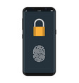 locked smartphone with padlock and fingerprint vector image