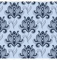Seamless paisley styled blue flowers pattern vector image