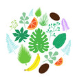 set of tropical leaves and fruits icons in circle vector image