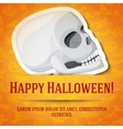 Happy halloween greeting card with white human vector image
