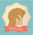 happy mothers day face woman badge vector image