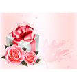 Holiday background with pink roses and gift box vector image