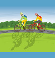 man and woman ride on bicycle on a country road vector image