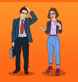 woman talking with businessman pop art vector image