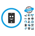 Mobile Phone Smile Flat Icon with Bonus vector image