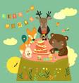 birthday background with happy animals vector image