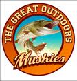 Muskie Fish Label Design vector image