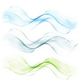 amazing transparent wave setbluegreen and pink vector image