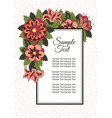 holiday card with spring flowers background for vector image