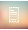 Receipt thin line icon vector image