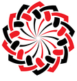 red black round ornament vector image