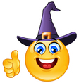 emoticon with witch hat vector image vector image