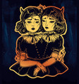 evil siamese twins female demon portriats vector image