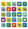 family color icons with long shadow vector image