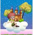 A boy sitting at the cloud holding an empty vector image vector image