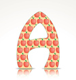 The letter A of the alphabet made of apple vector image