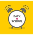 Alarm clock with chalk text yellow background Back vector image