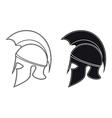 Ancient Greek Warrior Helmet Side Silhouette vector image
