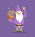 cute dwarf in a purple jacket and hat standing vector image