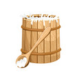 full milk wooden barrel isolated icon vector image