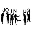 men and women silhouettes holding words join us vector image