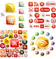 RSS glossy buttons vector image