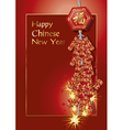 Red firecrackers on chinese new year card vector image