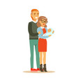 happy family couple with newborn baby colorful vector image