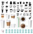 big coffee and tea icons set vector image