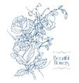 Vintage flowers sketch vector image