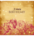 Vintage floral background birthday card vector image