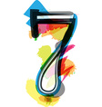 Artistic Font - Number 7 vector image vector image