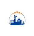 cityscape hotel building five star logo vector image