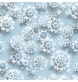Blue paper christmas snowflakes vector image