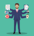 busy businessmen character multitasking hard work vector image