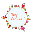 Christmas card with santa tree and presents vector image