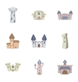 Knights royal princess castle icons set vector image