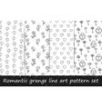 Romantic grunge line art pattern set vector image