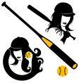 Softball elements vector image