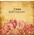 Vintage floral background birthday card vector image