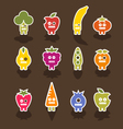 robot fruit icons vector image