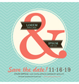 Ampersand Wedding invitation chevron background vector image