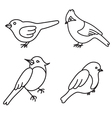 birds set black and white vector image