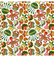 Seamless marine pattern Sea octopus crab vector image