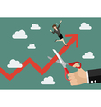 Big hand cutting rival growing graph vector image vector image