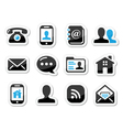 Contact icons set as labels - mobile user email vector image vector image