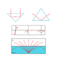 Refraction and reflection of light at the vector image