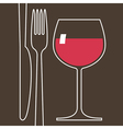 Wineglass and cutlery vector image