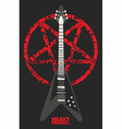 Guitar and Pentagram design vector image